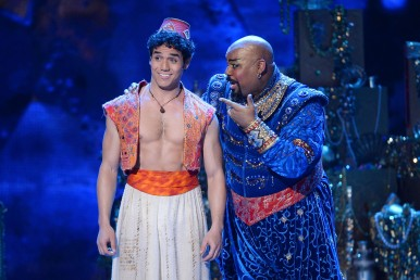 """NEW YORK, NY - JUNE 08: Actor Adam Jacobs and James Monroe Iglehart perform """"Aladdin"""" onstage during the 68th Annual Tony Awards at Radio City Music Hall on June 8, 2014 in New York City. (Photo by Theo Wargo/Getty Images for Tony Awards Productions)"""
